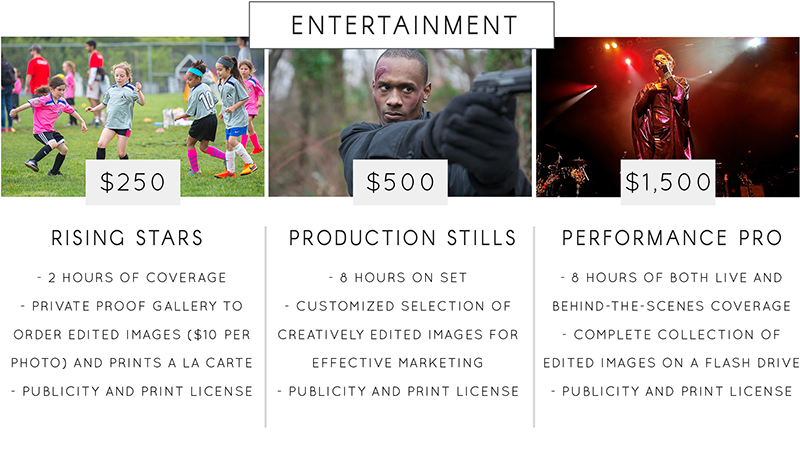 Entertainment Photography Rates