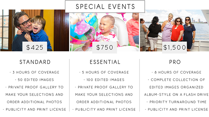 Family and Special Event Photography Rates